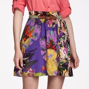 Anthropologie Maeve Silk Floral Skirt Medium